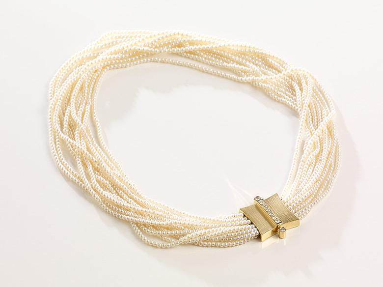 Perlencollier mehrreihig gold